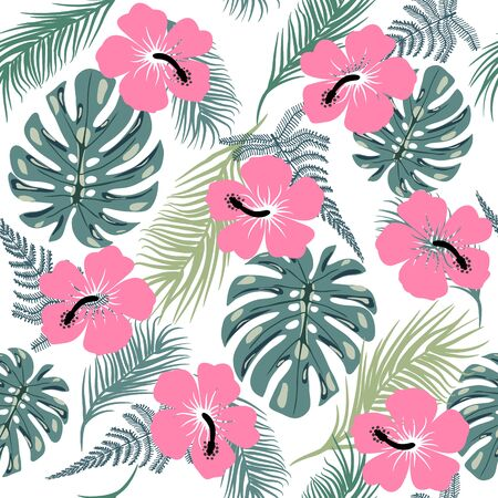 Vector tropical trendy seamless pattern with exotic plant leaves and hibiscus flowers.