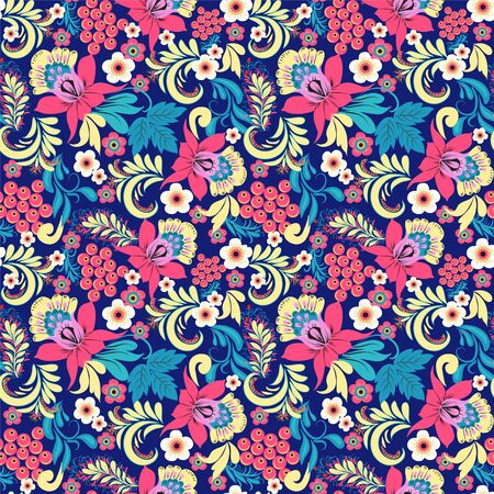Vector Floral seamless pattern in traditional vintage style folk traditional ornament.