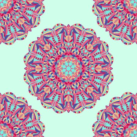 Vector Oriental pattern art background. Colorful ethnic Mandala decorative illustration.