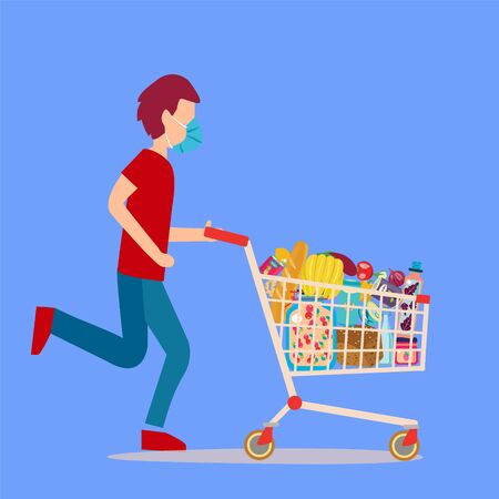 A Man wearing surgical mask pushing supermarket shopping cart full of groceries. Shopping cart full of groceries products.