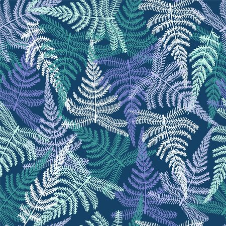 Botanical Abstract seamless fabric pattern with ferns leaves. Vector tropical natural background.