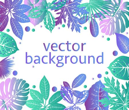 Vector Botanical Background with exotic plants and leaves with copy space for text. Backdrop for greeting cards, posters, banners. Illusztráció