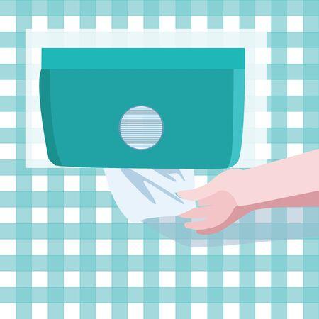 Vektorsymbol mit Papierhandtuchspender. Symbol der Hand, die weißes Papier vom Halter an der Wand nimmt. Hygienekonzept.