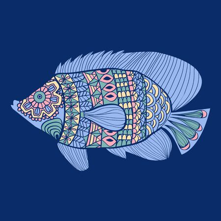 Vector Hand drawn decorative cute sea fish isolated on dark blue background.