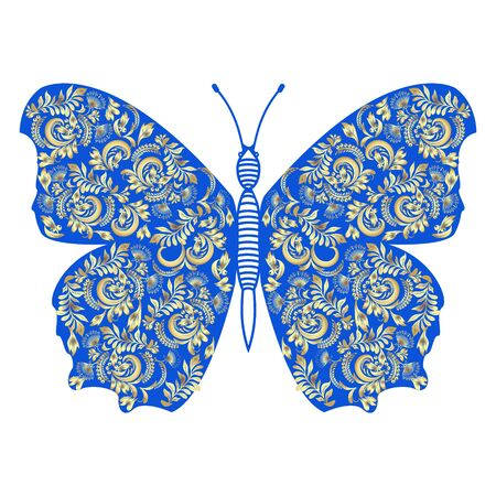 Hand drawn Vector illustration decorated folk traditional ornament golden Ornate Butterfly in blue.