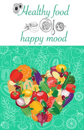 Poster with fresh organic vegetables by Heart shape. Vegetarian food collection and quotes Healthy food happy mood on mint green background.