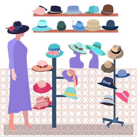 Vector hand-drawn Boutique indoor Fashion store. Modern hats store interior. Collection elegant male and female summer sun hats and caps, baseball, panama, summer design