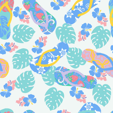 Vector summer background with flower hibiscus and flip flops. Seamless tropical floral wallpaper in pastel colors. Ilustracja