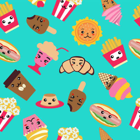 Seamless pattern with fast food cute background. Coffee, burger, french fries, ice cream, hot dog, popcorn, cupcake Kawai and cute food illustration Ilustracja