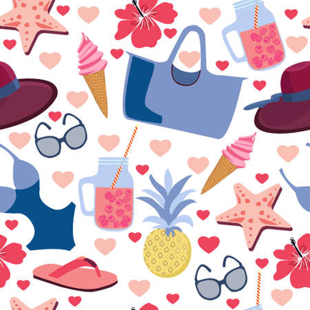 Summer themed seamless background with tropical flowers and beach accessoires. Perfect for fabric, wallpaper or wrapping paper.