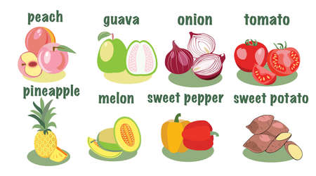 Vegetable and fruits icon in flat style. Vegetable and fruits from the farm. Organic eco food illustration.