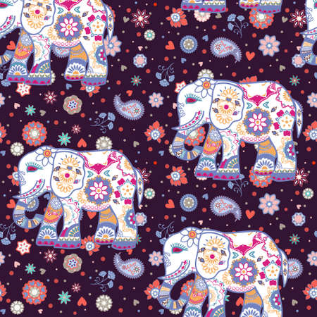 Seamless pattern with stylized ornamental elephants in Indian style. Beautiful ethnic floral background with elephant tribal ornament. Ilustracja