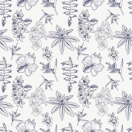 Vector pattern of hand drawn tropical flowers, leaves, jungle plants. Exotic floral background. Can use composition for invitation card, Fabric, cloth design, wallpaper, wrapping.