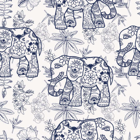 Vector pattern of hand drawn tropical flowers, jungle plants and stylized elephants. Exotic floral background.