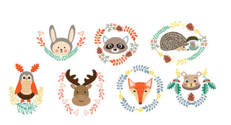 Vector set of cute forest elements animals and plants for baby shower and kids design.