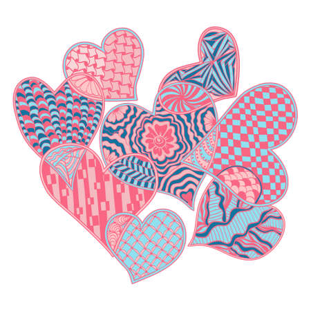 Vector hand-drawn romantic background with hearts decorative doodle style illustration. Design element, illustration for coloring book, greeting card, t-shirts, print.