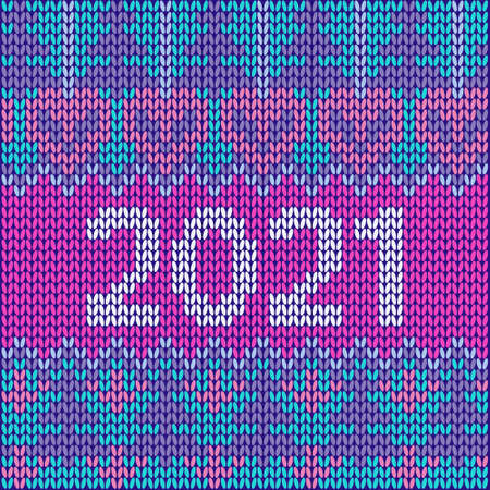 New Year's ornament for knitting Scandinavian style knitted pattern. Poster 2021 Perfect for wallpaper, wrapping paper, pattern fills, winter greetings, web background, Christmas greeting cards. Ilustracja