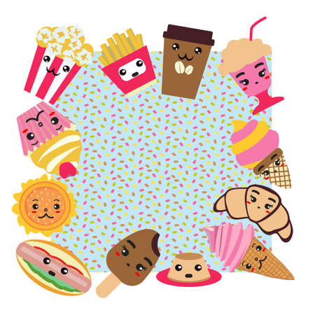 Background with fast food cute background. Coffee, burger, french fries, ice cream, hot dog, popcorn, cupcake and cute food illustration. Ilustracja