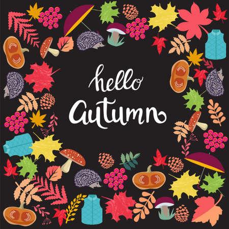 Cute background with Autumn Season elements and inscription hello autumn on dark background. Ilustracja