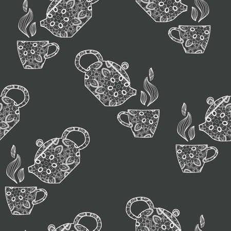 Hand drawn seamless pattern with decorative teapot and cup on black background.