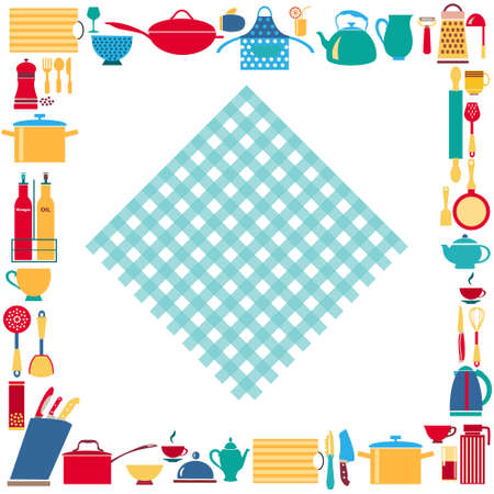 Set of kitchenware and restaurant utensils vector background. Can be used in banner, publications, postcards, print, poster. Ilustracja