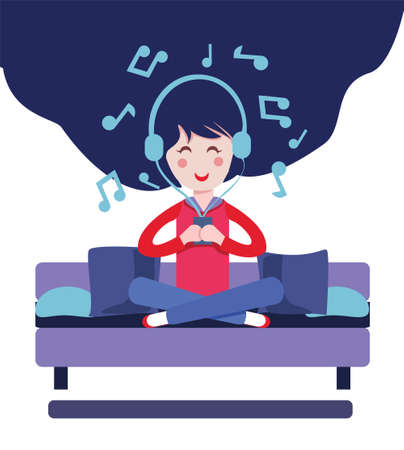 Happy Girl with headphones listen to the music. Vector illustration Girl listen music on coach sofa at home in headphones, flat isolated character.