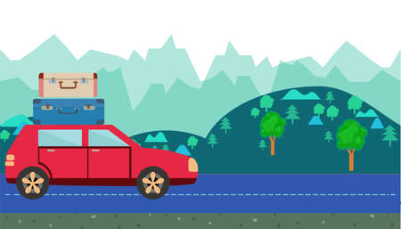 Car with luggage on roof against the background of countryside. hills and trees horizontal banner. Cartoon moving car Vector illustration in cartoon style. Illustration