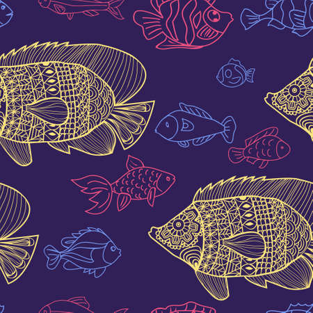Vector doodle set of marine fish of different shapes seamless background. Parren for design on the theme of marine animals, sea, travel.