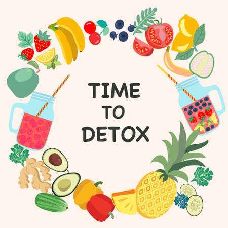 TIME TO DETOX Fitness and weight loss concept. Friuts and vegetables Flat style design for banner, card, poster.