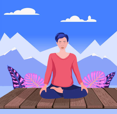 A woman practices yoga and breathing exercise on Nature seascape background. Asian girl with closed eyes sitting cross legged and meditating. Suitable for banner.