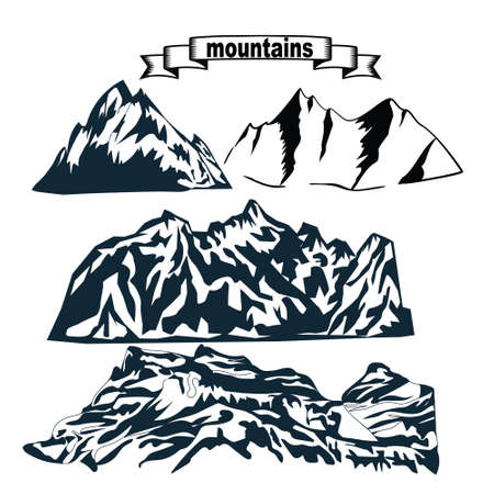 set of hand drawn landscape silhouette mountains template graphic design. Suitable for social media posts, mobile apps, banners design and web.