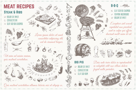 Doodles Sketches meat, steak, barbecue, pig, ribs. template. Isolated vector illustration 4 design menu of restaurants - cafes & books cooking recipes 写真素材 - 110853166
