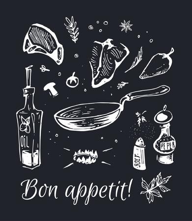 Cibo disegnato a mano - gesso su una tavola nera bistecche di carne fritte in una padella con olio d'oliva e spezie. Composizione vettoriale isolata per la progettazione di poster e pareti nere in un bar e un ristorante