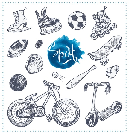 Hand drawn icons of school sport equipment with bicycle, roller skates, scooters, baseball and balls isolated on white background. Sketch style vector illustrations for packaging design