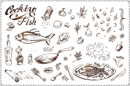 Fish cooking sketch drawn by hand with ink. Vintage vector icons for menu design and recipe books. Fish dish, frying pan, vegetables and seasoning illustrations isolated on white