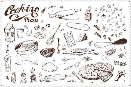 Cooking of pizza. Hand drawn sketches in ink. Vintage vector icons for menu design, packaging and recipe books. Dough with bacon and shrimp, sausage, vegetables and spices isolated on white