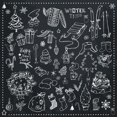 Christmas time icons set. Hand drawn doodles with cozy holiday elements and winter sports equipment on black chalk board background. Vector illustration