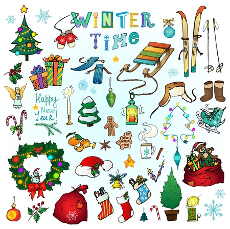 Winter time icons. Hand drawn doodles set with cozy holiday elements and winter sports equipment isolated on white background. Vector illustration for Christmas Иллюстрация