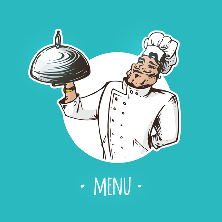 Restaurant menu cover with cartoon chef character holding a dish on tray. Vector illustration Çizim