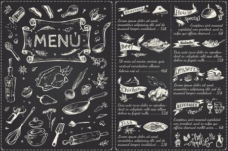 Design der Hauptseite des Vintage-Menüs. Handgezeichnete Lebensmittelskizzen einzeln auf schwarzer Kreidetafel für Restaurant- oder Cafédekoration. Vektorbanner Vektorgrafik