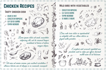 Receta de platos de pollo boceto dibujado a mano. Garabatos de estilo grabado de pavo asado con especias y verduras. Diseño de menú de vector vintage