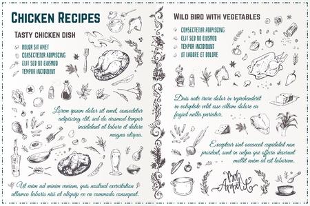 Schizzo disegnato a mano di ricetta di piatti di pollo. Scarabocchi stile inciso di tacchino arrosto con spezie e verdure. Disegno del menu vettoriale vintage