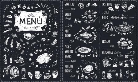 Menü handgezeichnetes Kreidedesign mit weißen Lebensmittelsymbolen auf der Tafel. Isolierte Vektorskizze von Fleischgerichten, Grill, Hühnchen, Fisch und Meeresfrüchten, Fast Food, Getränken und süßen Desserts. Vintage Café-Menü