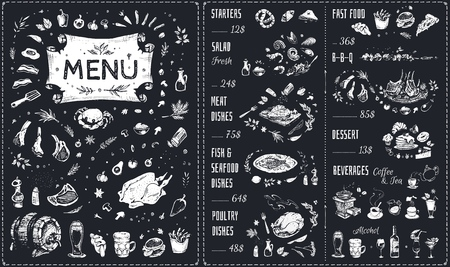 Menu hand drawn chalk design with white food icons on blackboard. Isolated vector sketch of meat dishes, barbecue, chicken, fish and seafood, fast food, beverages and sweet desserts. Vintage cafe menu