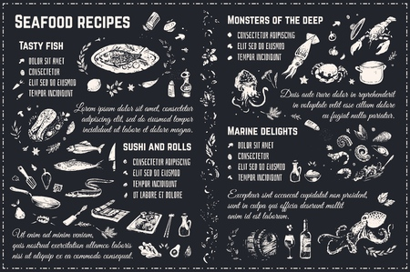 Seafood menu chalk drawing sketches isolated on blackboard. Cookbook recipes or restaurant menu design with doodle vector icons - fish, sushi, steak, lobster and shrimp. Ilustracja