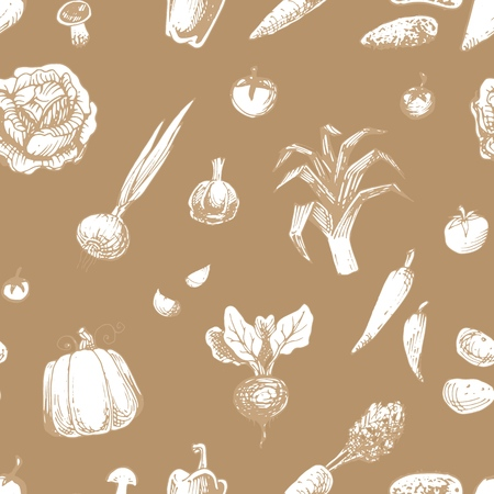 Seamless pattern with vegetables. Vintage vector background with hand drawn engraved style fresh vegetarian food.