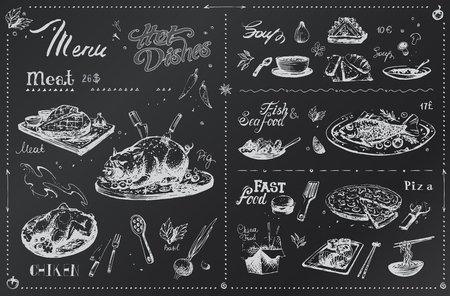 Chalk hand drawn dishes for menu design. Sketches of meat, spices, chicken and fish, pizza, sushi white icons on black board. Vector hipster poster