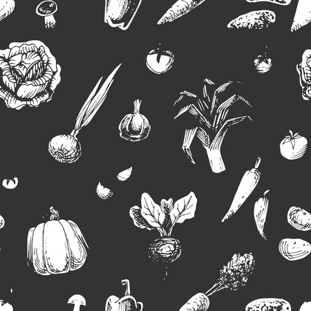 Seamless pattern with vegetables sketches. Vintage vector background with chalk drawing of vegetarian food.