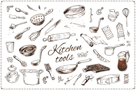 Hand drawn kitchenware vector icons set. Sketch of isolated kitchen tools and elements of cooking for menu design and recipe books. Vintage style illustration