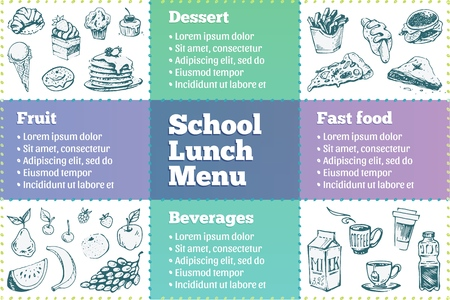 School lunch menu. Sketch icons dessert, beverages, fast food and fruits. Vector design template of cafeteria flyer.